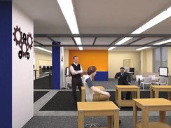 3D Rendered animation of a school lab