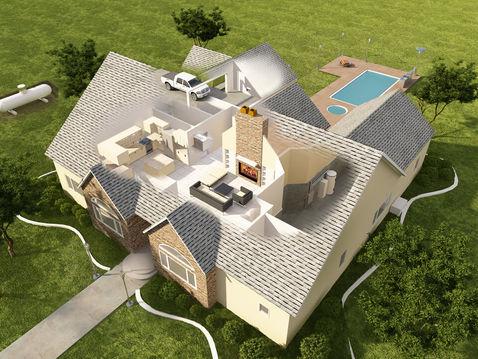3D Floor Plan Cutaway of a House