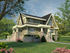 3D Rendering with an Angled View of the Residence