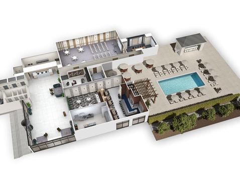 Hotel Ground Floor 3D Floorplan