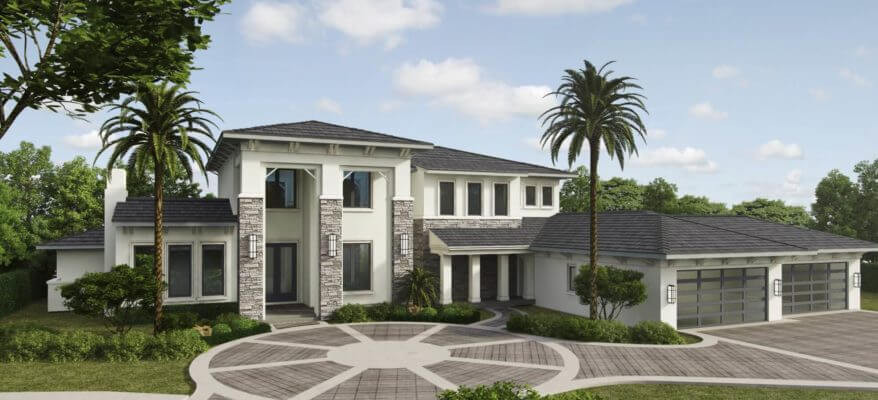 3D Rendering of a Luxurious Mansion