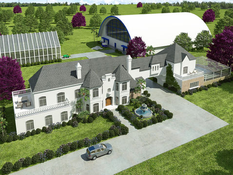 Aerial View Rendering of a Mansion