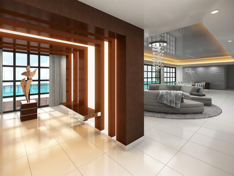 Architectural Rendering of a Modern Living Room