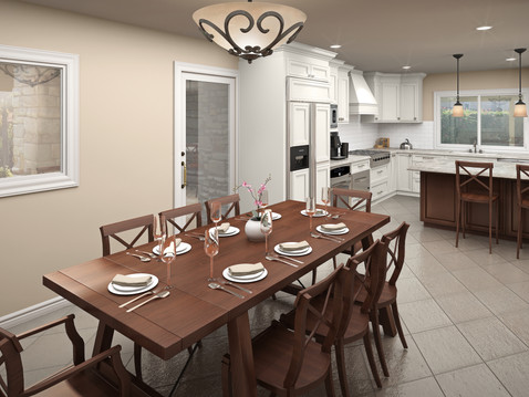 Interior Rendering of a Dining Room