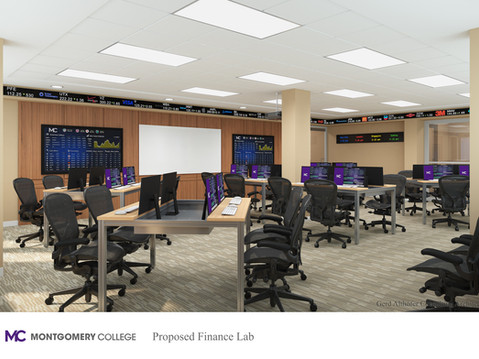 3D Rendering of a College Finance Lab