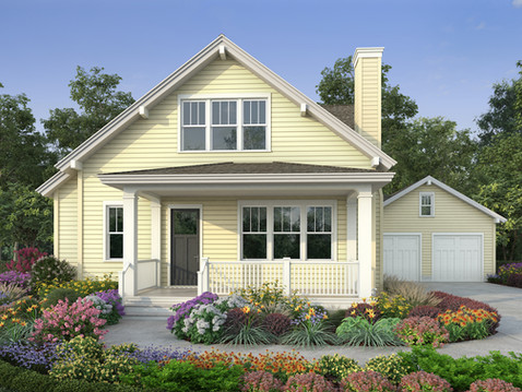 Front View 3D Home Rendering