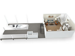 3D Floor Plan of a Lakeside Townhome - Lower