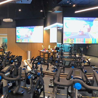 Indoor cycling studio with Stages SC3