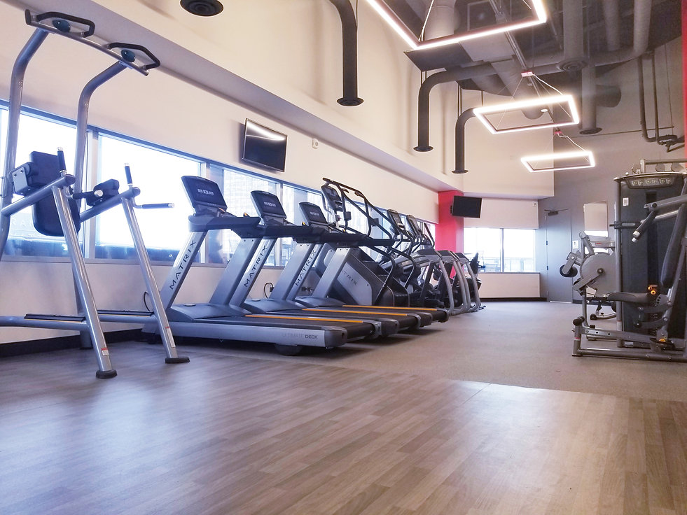 Finished multi-family residential gym with matrix treadmill and climbmill and strength equipment,