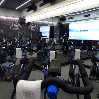 Indoor cycling studio with Stages Flight