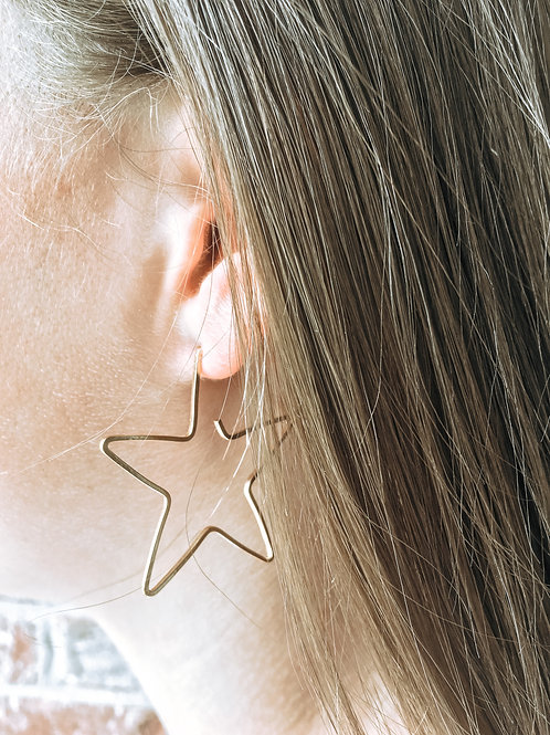 Gold Starry Night Hoops