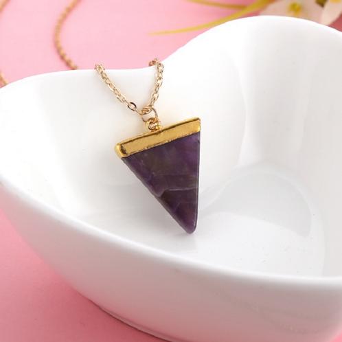 Purple Triangle Stone Necklace