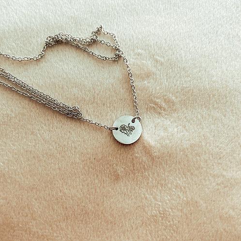 Silver Poppy Charm Necklace