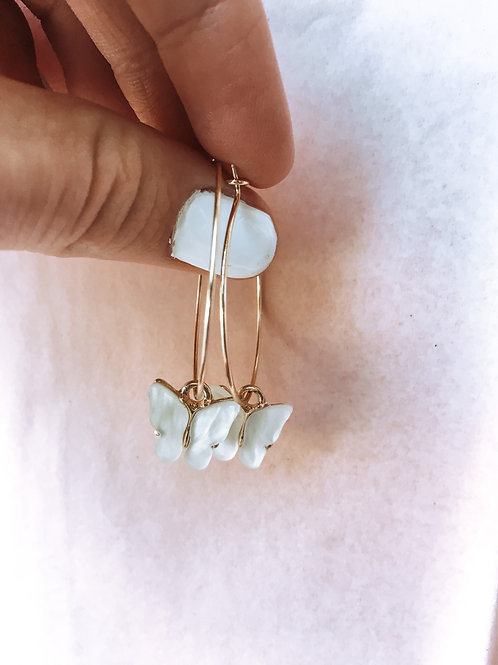 White Butterfly Hoops