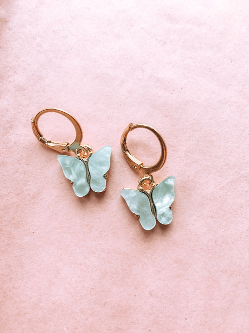 Blue You Give Me Butterflies Huggie Earrings
