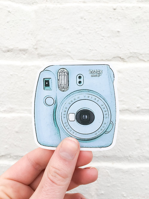 Blue Polaroid Sticker