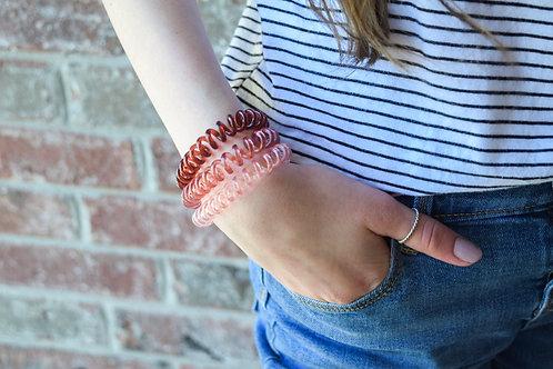 Maroon Ombre Spiral Hair Tie Set