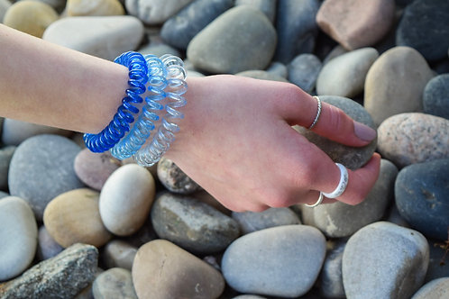 Blue Ombre Spiral Hair Tie Set