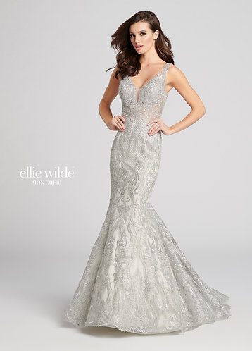Ellie Wilde Super Silver Prom Dress