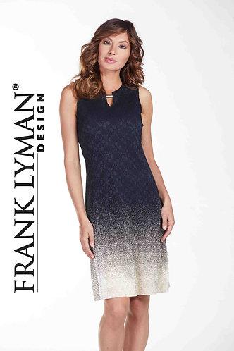 Frank Lyman Gold & Navy Lace Dress