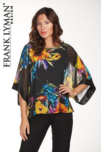 Frank Lyman Stunning Black Floral Top