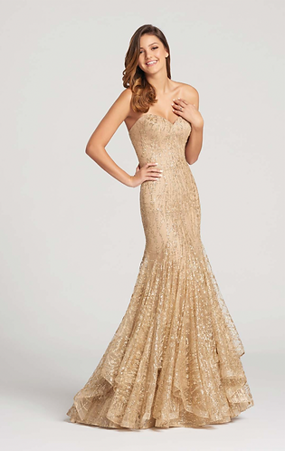 Ellie Wilde Classy Gold Sequined Prom Dress