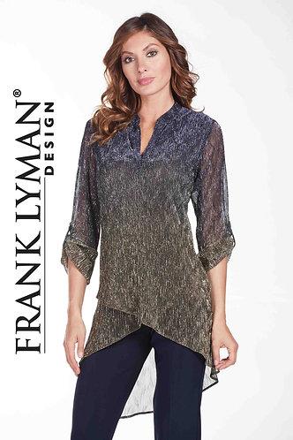 Frank Lyman Shirt Top Navy to Gold detail