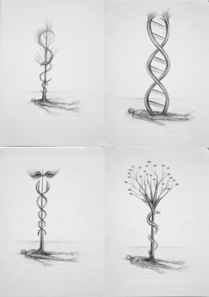 Awakening - Wake Up / Awakening - Despertar (Series of 4 drawings)