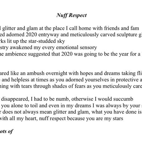 'Nuff Respect' By Sandra Lindsay