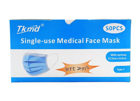 Tkmd ® Medizinische OP Masken Mund und Nasenschutz EN14683 TPY I 50St.Box