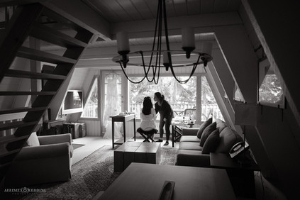 A bride getting ready at Grouse Mountain, Vancouver, British Columbia