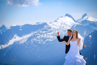 Wedding photo at the top of Pitt Mountain, British Columbia