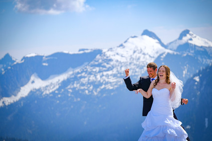 Wedding photo at the top of Pitt Mountain, British Columbia