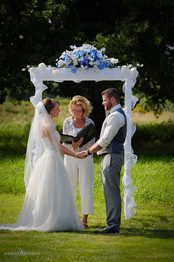 Wedding ceremony at the farm in Surrey, British Columbia