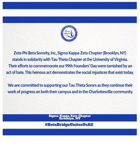 Sigma Kappa Zeta Chapter Stands in Solidarity with our Sorors of Tau Theta Chapter