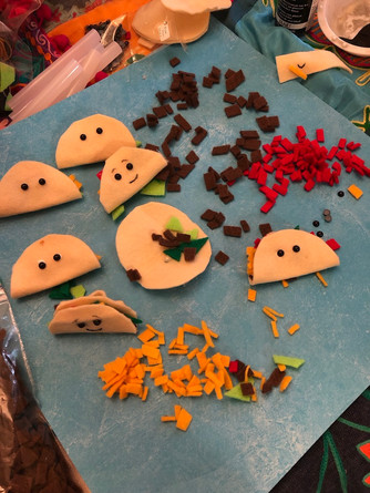 "Taco Finger puppets!  Project to go with book ""Dragons love Tacos"""