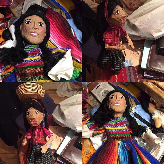 Paper mache marionettes Guatemalan weave