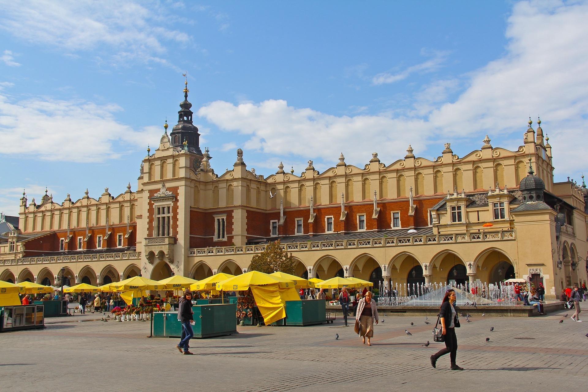 Cracovia, Polonia, lonja, plaza