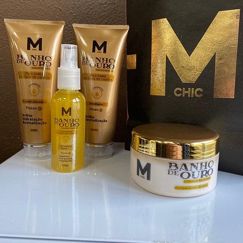 Kit Banho de Ouro Shampoo, Condicionador e Máscara + Protetor