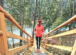 Girl Walking Up Wooden Stairs