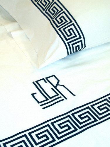 modern monogrammed black and white sheets with greek key design