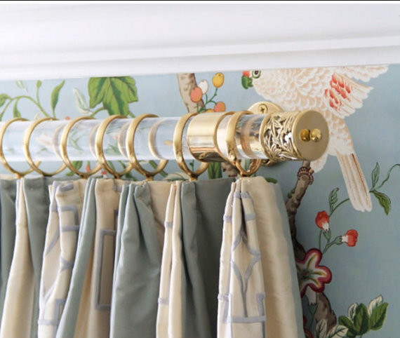 lucite and gold curtain rod and hardware
