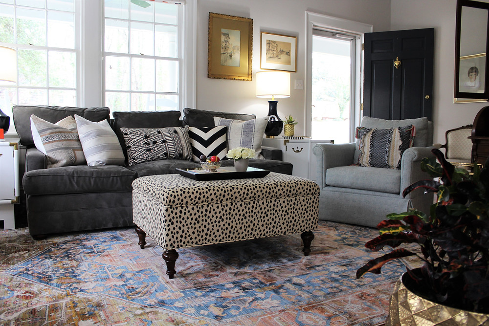 eclectic living room with affordable rug cameron jones interiors