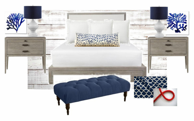 Modern Navy and White Beach Bedroom