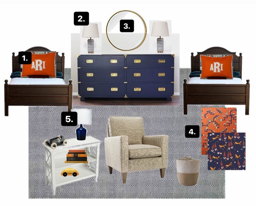 mood board for navy and orange boy's bedroom