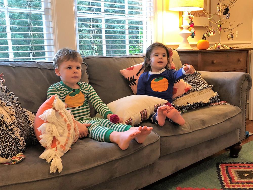 kids in pumpkin pjs