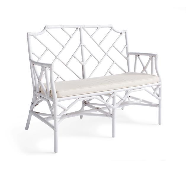 white rattan bench