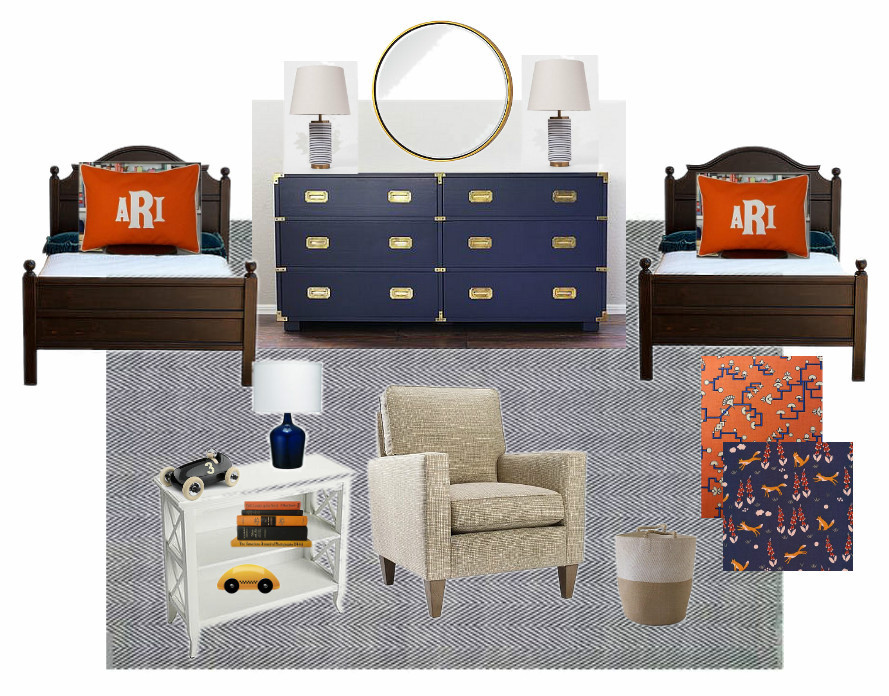mood board for a big boy room navy and white and orange