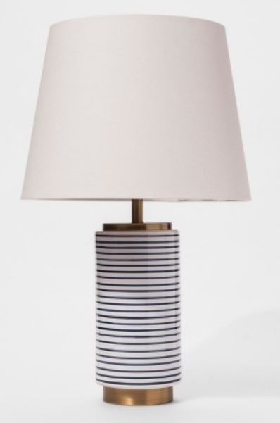 navy and white striped lamp for boy's room