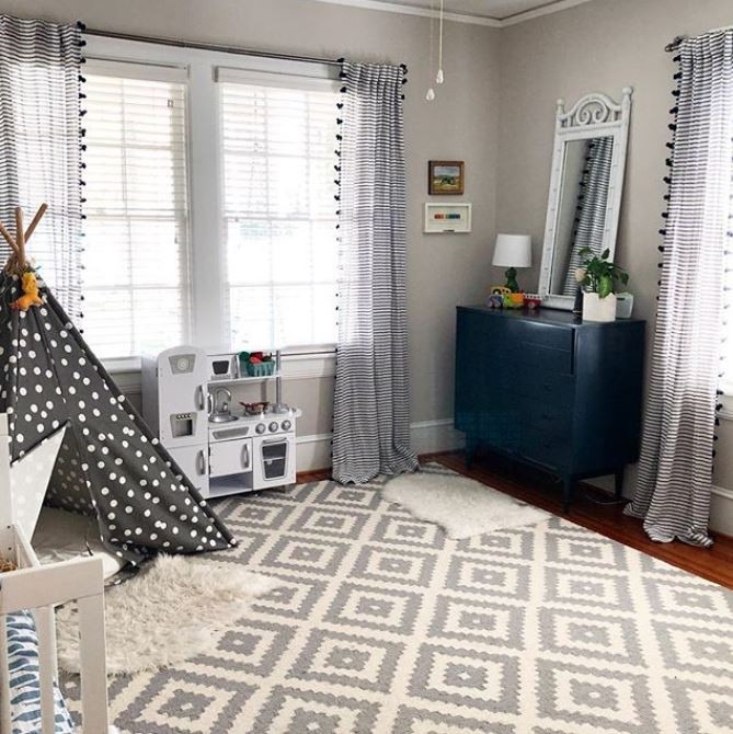 navy and white and fun boys bedroom